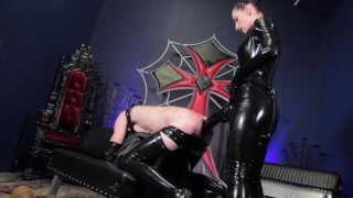 Elbow Deep Double Fisting & Strap-on For Mistress' Rubber Whipping Servant