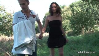 Amateur French Brunette Milf Ass Fucked in Threesome With Papy Outdoor